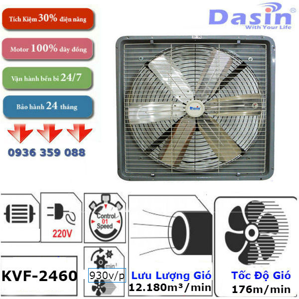 Quạt thông gió công nghiệp Dasin kvf 2460 chính hãng chất lượng cao
