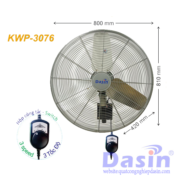 Báo Giá Quạt Treo Tường Công Nghiệp Dasin KWP-3076