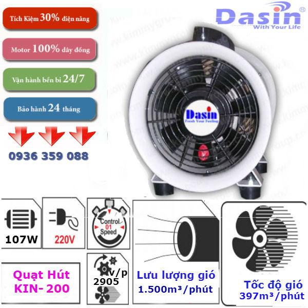 Quạt hút công nghiệp nối ống Dasin Kin-200
