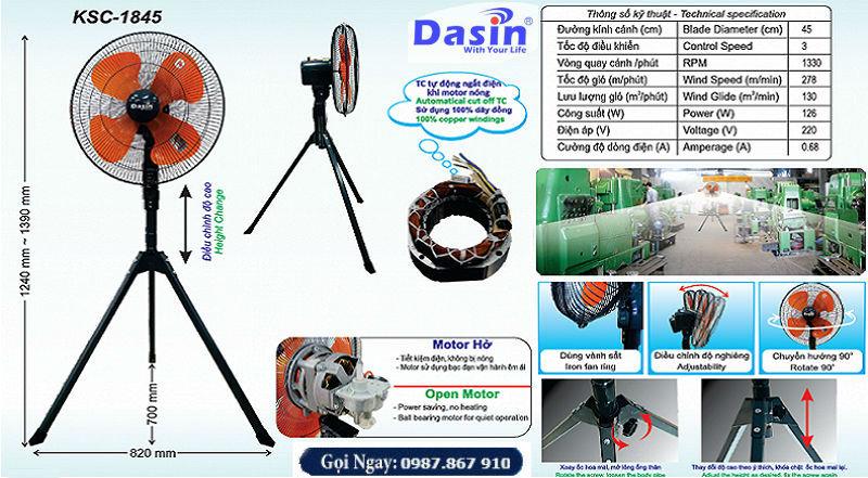 Quạt đứng công nghiệp Dasin KSC 1845 công suất lớn