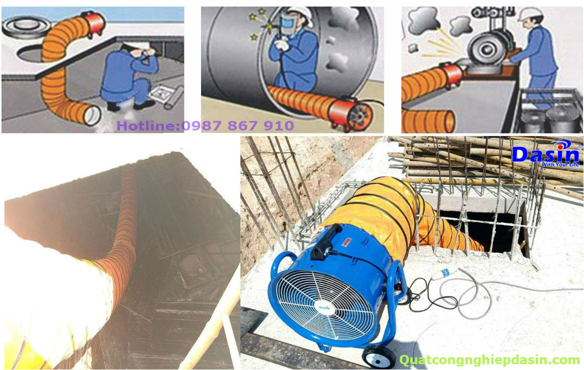 Ứng dụng thực tế của ống gió mềm quạt hút kin 500